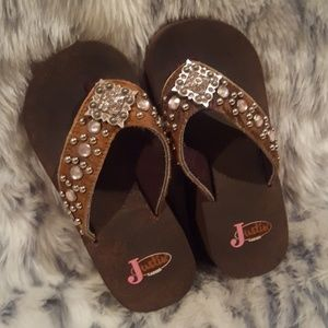 e1d4623eb Justin Boots Shoes - Rhinestone wedge flip flop